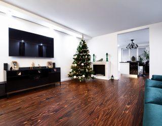 Podłoga z Palisandru (Palisander Santos Modyfikowany) w salonie